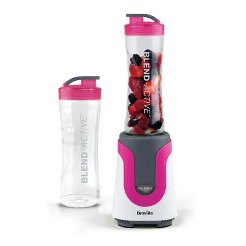Breville Blend Active Personal Blender, Pink with x2 600ml Bottles