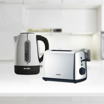 Vista 1.7L Polished Stainless Steel & Plastic Kettle with Illumination and Matching 2 Slice Toaster Set