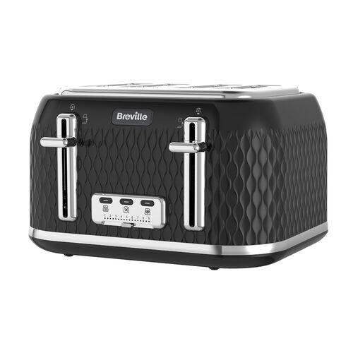 Curve 4 Slice Toaster, Black with Chrome