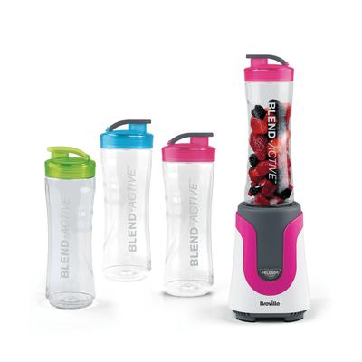 Breville Blend Active Colour Bundle with 4 Bottles - Pink Blend Active with x2 Pink, x1 Green, x1 Blue Bottles