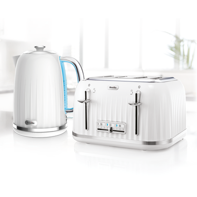 Impressions Collection 1.7L Jug Kettle and 4 Slice Toaster, White