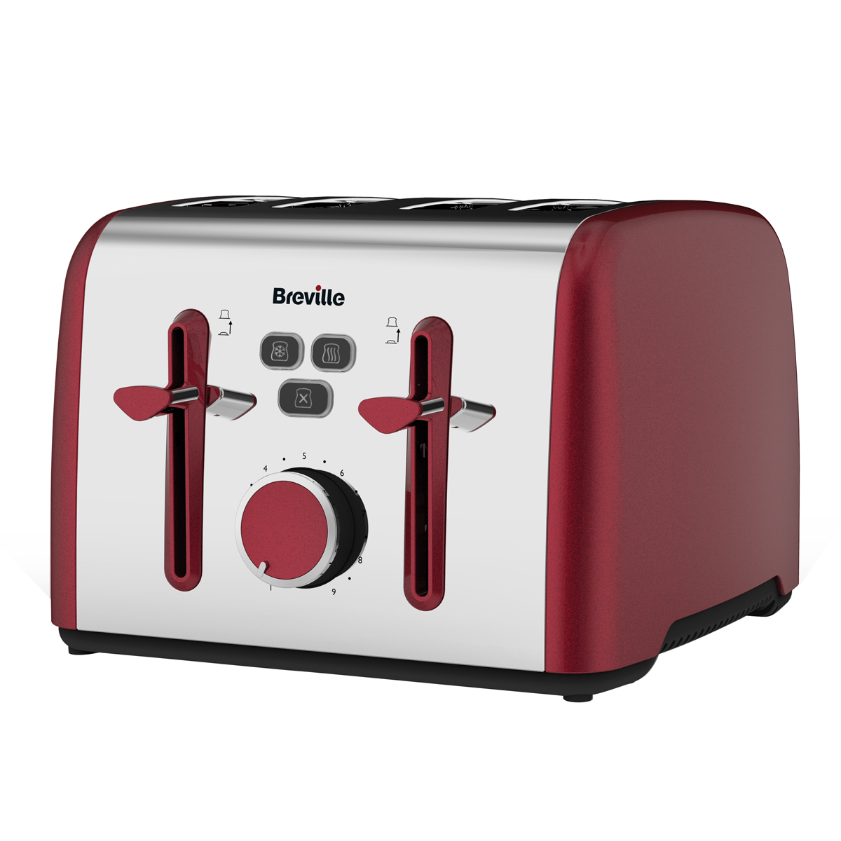 colour notes 4 slice toaster red