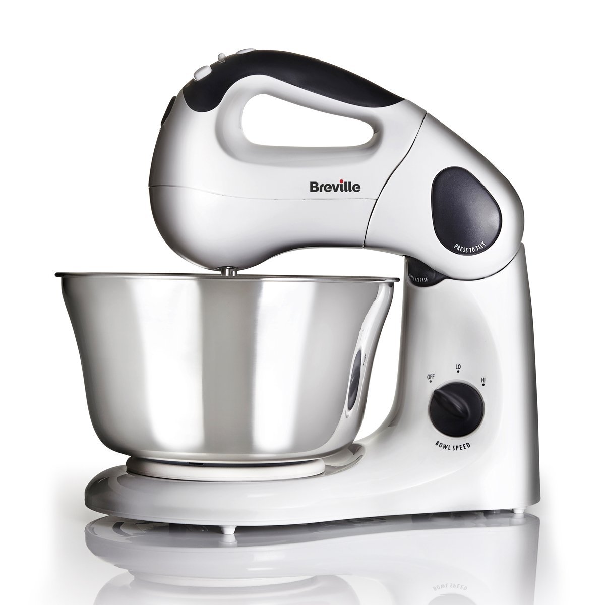 compact stand and hand food mixer with twin motor vfp026 breville. Black Bedroom Furniture Sets. Home Design Ideas