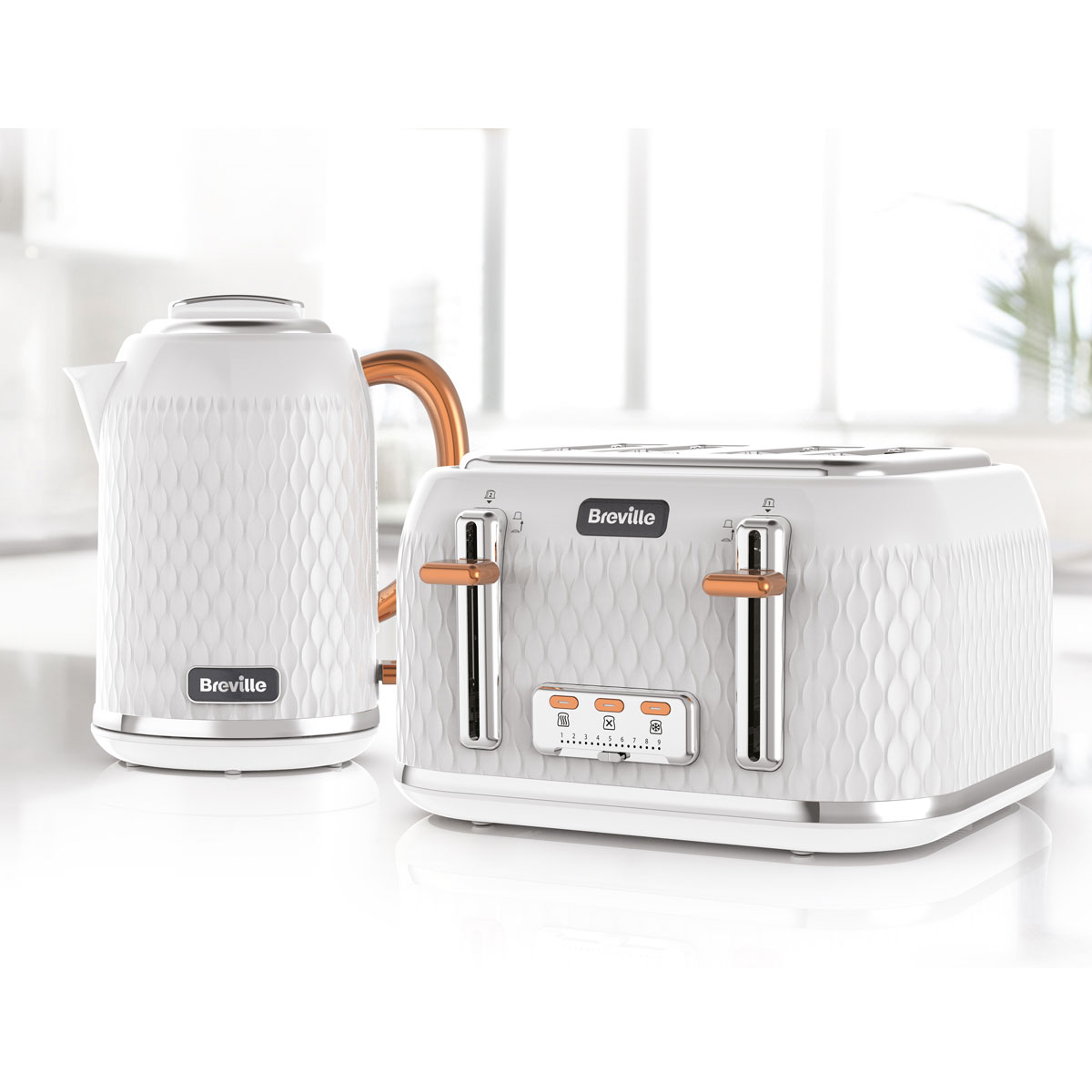 Curve Jug Kettle And Toaster Set White And Rose Gold