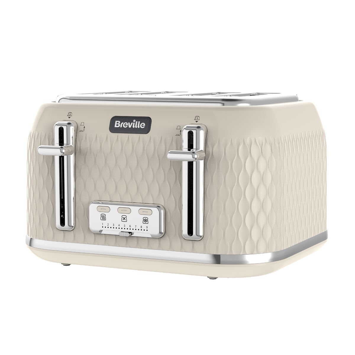Curve 4 Slice Toaster, Cream with Chrome
