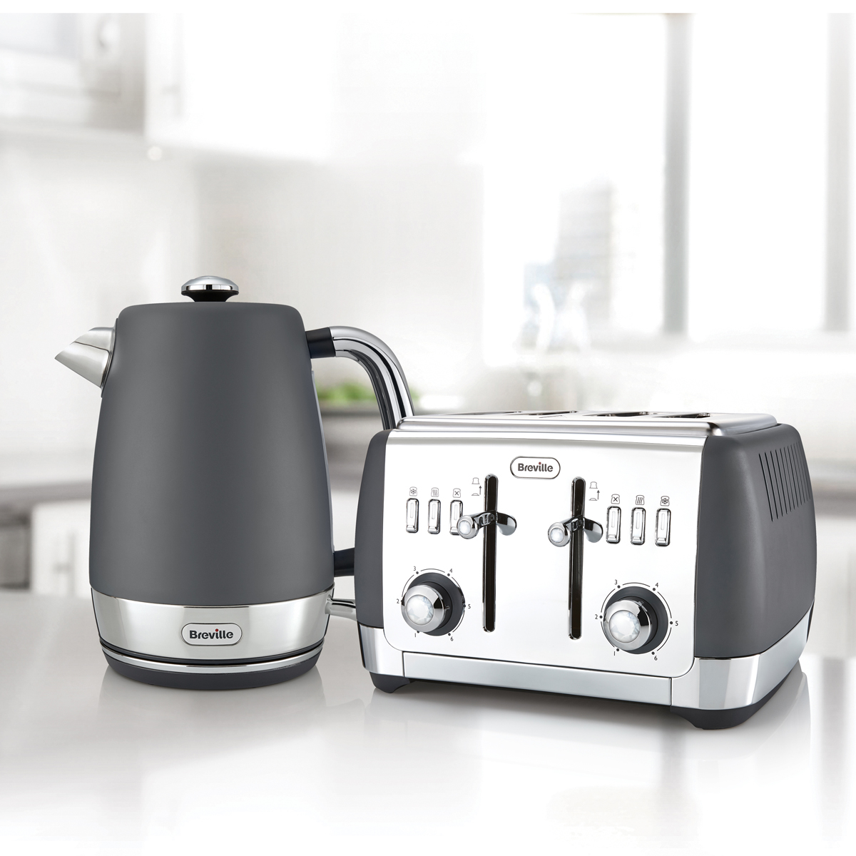 Strata collection jug kettle and toaster set grey strata for Kitchen set kettle toaster