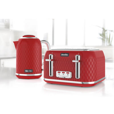 Curve Collection Jug Kettle and Toaster Set, Red and Chrome