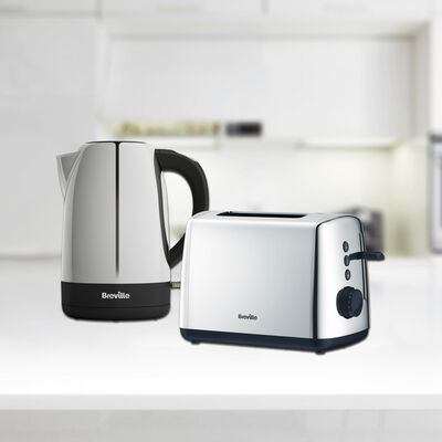 Vista 1.7L Polished Stainless Steel & Plastic Kettle with Matching 2 Slice Toaster Set