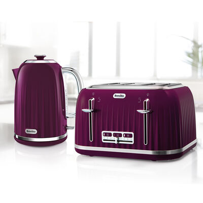 Impressions Collection 1.7L Jug Kettle and 4 Slice Toaster Set, Damson
