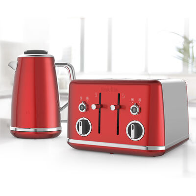Lustra Kettle and Toaster Set, Candy Red