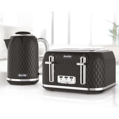 Curve Collection Kettle and Toaster Set, Black and Chrome