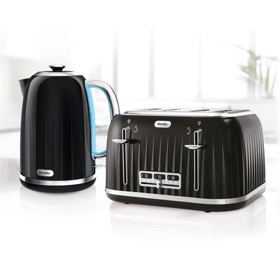 Impressions Collection 1.7L Jug Kettle and 4 Slice Toaster Set, Black