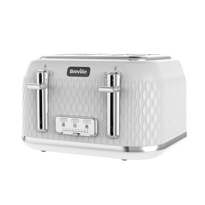 Curve 4 Slice Toaster, White with Chrome