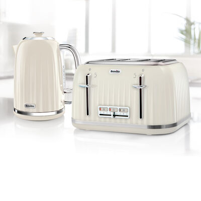 Impressions Collection 1.7L Jug Kettle and 4 Slice Toaster Set, Cream