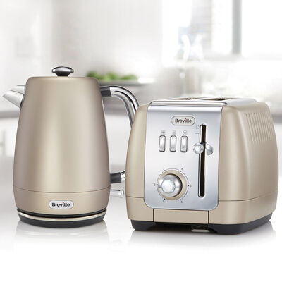 Strata Luminere Kettle and Toaster Set, Platinum