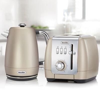 Strata Luminere Kettle and Toaster Set, Platinum
