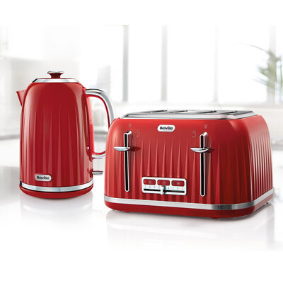 Impressions Collection 1.7L Jug Kettle and 4 Slice Toaster Set, Red