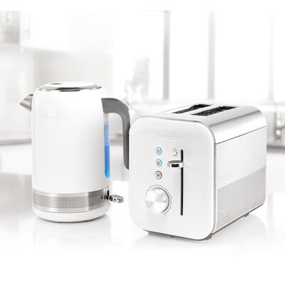 High Gloss Collection 1.7L Kettle and 2 Slice Toaster, White