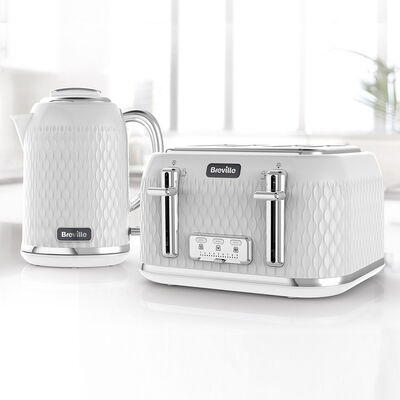 Curve Jug Kettle and Toaster Set, White and Chrome