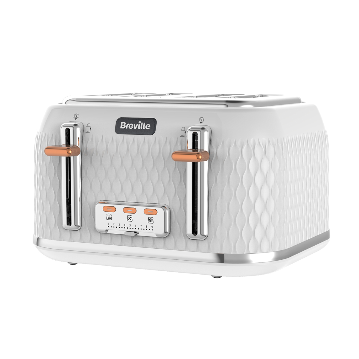 White And Rose Gold Curve Collection 4 Slice Toaster