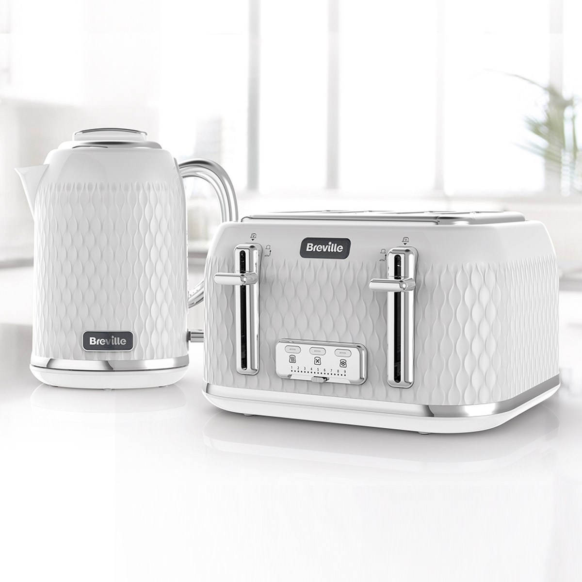 Curve Jug Kettle And Toaster Set White And Chrome Breville