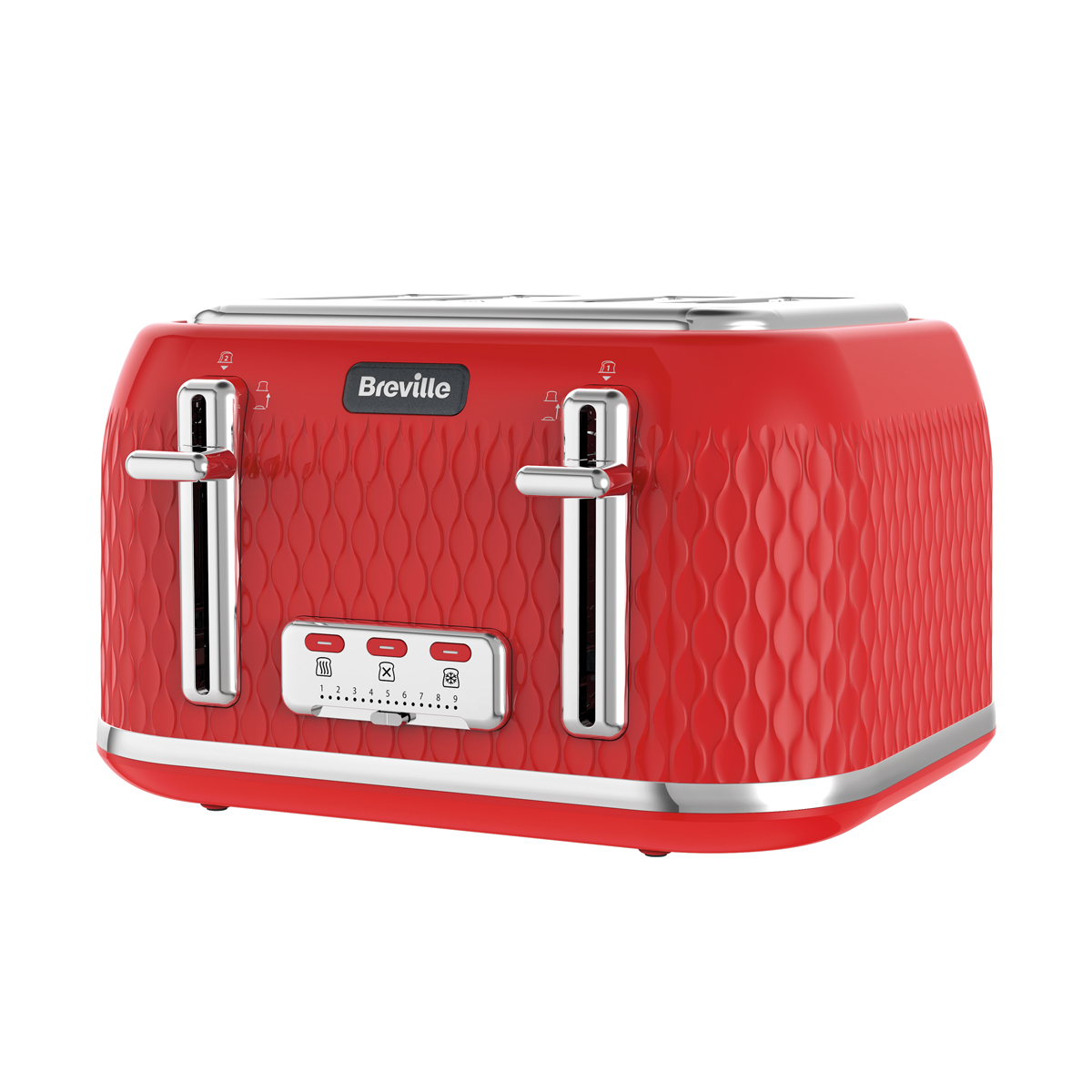 Curve Collection Jug Kettle And Toaster Set Red And